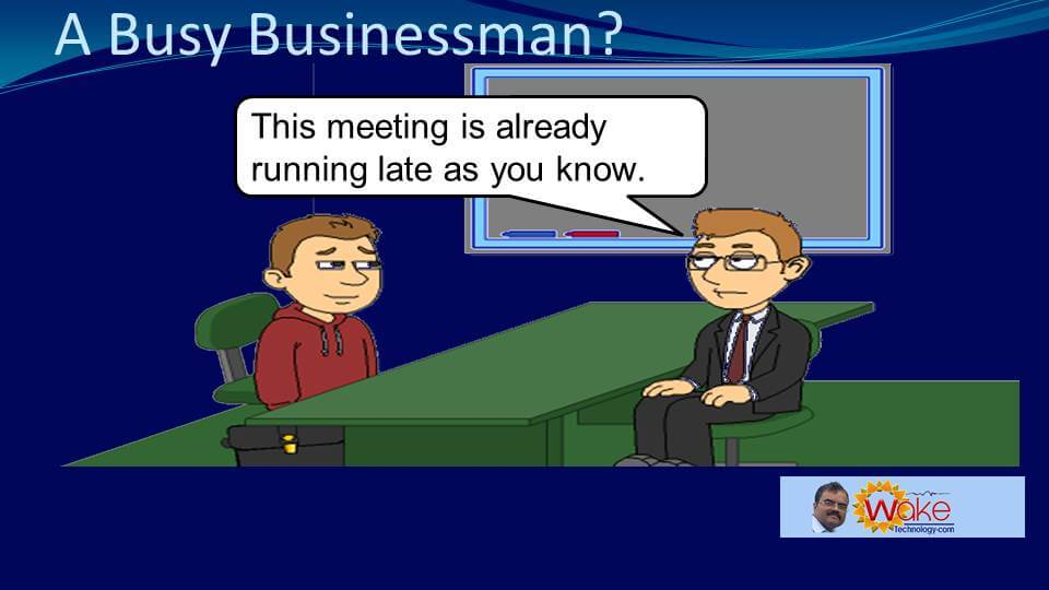 Tom points out that this meeting is already running late.