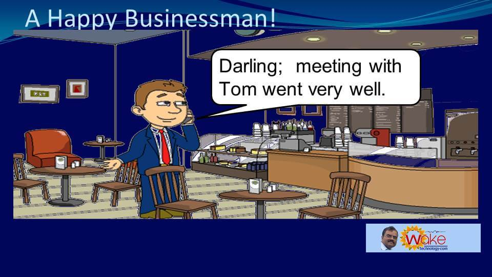 """John says """"Darling; meeting with Tom went very well."""""""