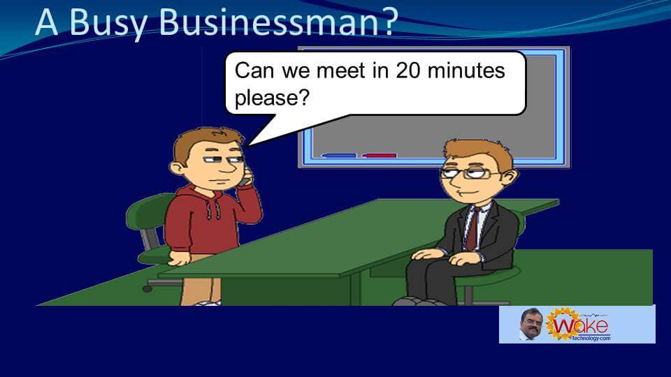John asks 'Can we meet in 20 minutes please?'