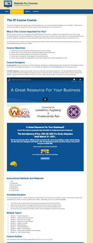 The Landing Page for Of Course Course